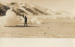 RP: TAKU GLACIER , Alaska ,  1900-10s ; Man & Ice on beach