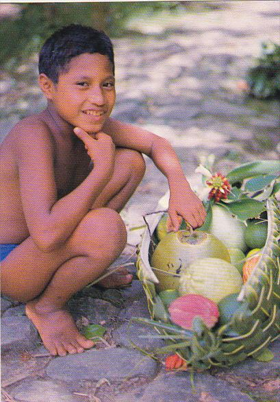 Caroline Islands Yap Young Boy With Hand Woven Baskets Containing Locally Gro...