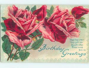 Divided-Back birthday BEAUTIFUL PINK AND RED ROSE FLOWERS o9226
