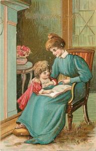 Mother Assures Child At First Reading Lesson~Blue Gown~Pink Dress~Emboss~1911