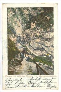 Burgau am Attersee. Eingeng zur Burggrabenklamm, Austria, PU-1900