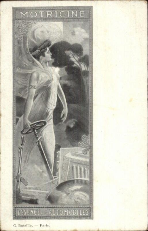 Art Nouveau - Automotive Oil - Motricine Beautiful Woman & Car c1900 Postcard