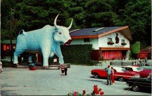 REDWOODS , CA CALIFORNIA - CHROME PAUL BUNYAN Babe BLUE OX postcard