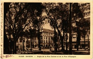 CPA AK INDOCHINA Saigon Angle de la rue Catinat VIETNAM (957518)