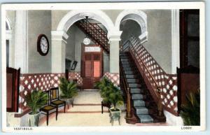 MATANZAS, CUBA   Interior LOBBY at HOTEL PARIS  ca 1920s-30s   Postcard