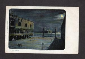 Italy Venice Venezia Moonlight view Vintage Italie Carte Postale Postcard Night