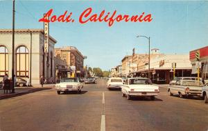 Lodi California~Downtown Street View~Bank of America~US Mail~Classic Cars~1960s
