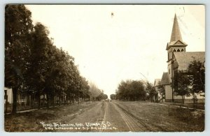 Lennox South Dakota~Third Street Homes~Church On Right~Boys in Road~1910 RPPC
