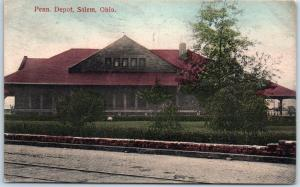 Salem, Ohio Postcard Penn. Depot PRR Railroad Train Station Street View 1909