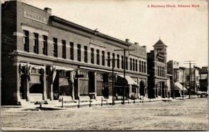 Edmore Michigan~Main Street~Wabar Business Block~Hitching Posts at Stores~1908