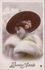 Bonne Année Happy New Year Young Woman c1910 Etoile Real Photo Postcard E31