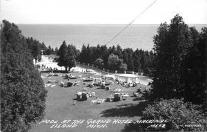 1940s Island Michigan Pool Grand Hotel  Mackinac RPPC Real photo postcard 8605