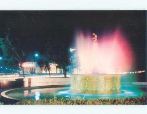 Pre-1980 WATER FOUNTAIN AT NIGHT Beverly Hills - Los Angeles California CA c8699