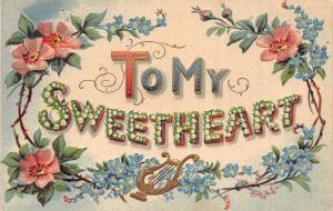 To My Sweetheart~Large Letter Lily of Valley~Pink Blue Flowers~Lyre~Emb~Germany
