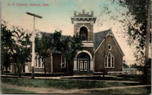 Hebron NE~Handcolored United Methodist Episcopal Church~Battlement Tower 1922 PC