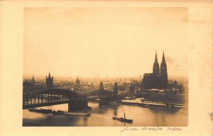 Koln am Rhein Cathedral River Bridge Boats Panorama Postcard