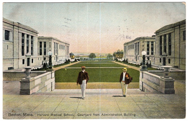 Boston, Mass, Harvard Medical School, Courtyard from Administration Building