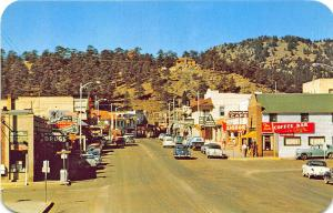 Estes Park CO Store Fronts Old Cars Coffee Bar Cafe Postcard