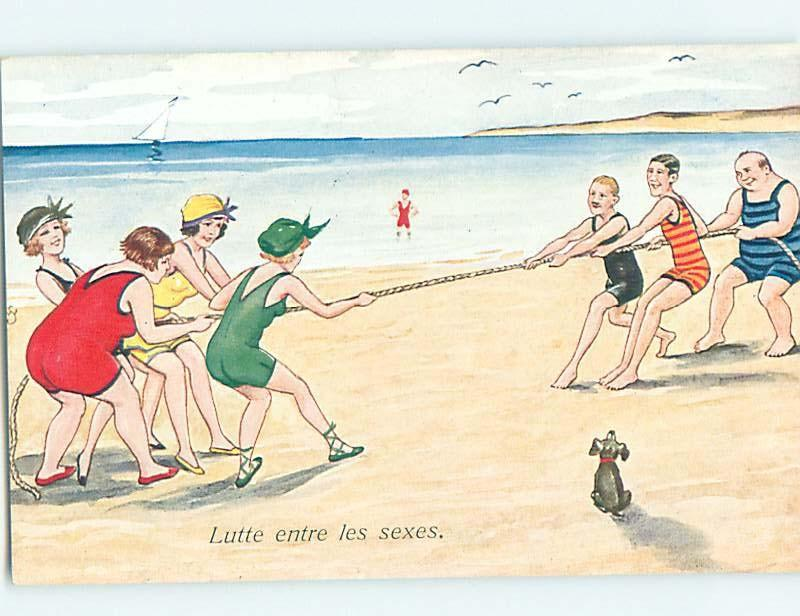 Pre-Linen foreign risque BATHING SUIT GIRLS IN TUG-OF-WAR ON BEACH HL9805@