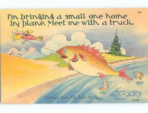 Linen comic exaggeration HUGE FISH CAUGHT USING AIRPLANE FOR FISHING HL3477