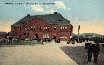 Union Station, New London, Connecticut CT, USA Railroad Train Depot Postcard ...