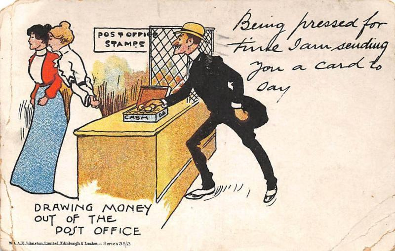 Drawing Money Out Of The Post Office Stamps Cash Coins Comic