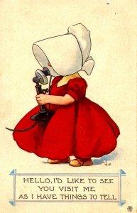 Sunbonnet Girl on Telephone.  Artist: Bernhardt Wall