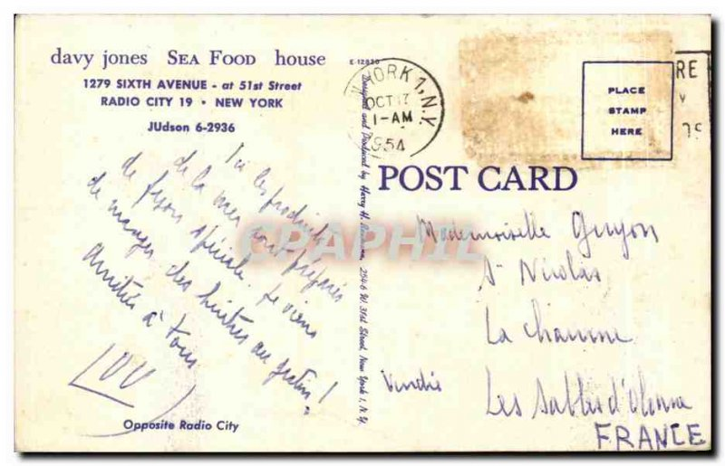 Old Postcard Davy jones Sea Food House New York