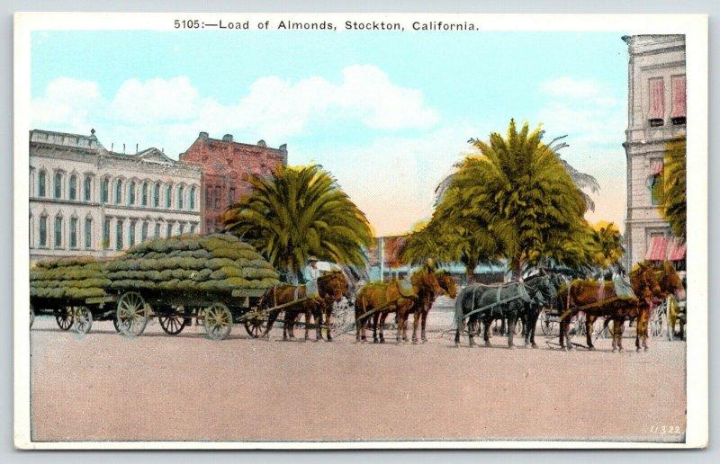 Stockton California~-8-Horse-Drawn Wagon Load of Almonds (Exaggerated?)~1920s PC