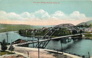 Bellows Falls Vermont~Dirt Road to Arch Bridge~Homes Other Side~1910 Postcard
