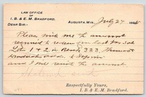 Augusta Wisconsin~IB & EM Bradford Law Office~County Treasurer~1895 Postal