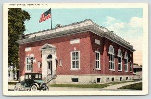 Penn Yan New York~US Flag Flies Over Post Office~Vintage 1920s Automobile PC