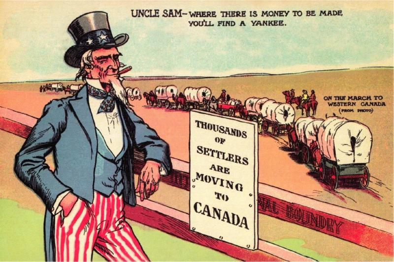 Uncle Sam on the March to Western Canada Patriotic Repro Postcard