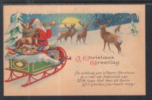 A Christmas Greeting,Santa,Sleigh