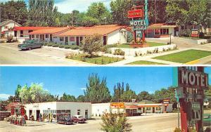 Greeley CO Sundown Motel Gas Station Old Cars Postcard