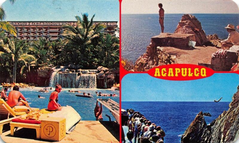 Vintage 1988 Mexico Postcard, Acapulco, Multi View 42R