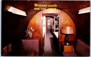 1960s Garberville, California Redwoods Roadside Postcard ONE LOG HOUSE Interior