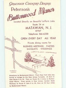 Pre-1980 PETERSONS BUTTONWOOD MANOR RESTAURANT Matawan New Jersey NJ M6136