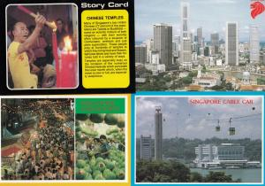 Singapore Chinatown Cable Car Aerial Temples 4x Postcard s