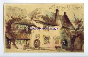 GR0016 - Hold to Light, Village Cottages, A Happy Birthday - postcard