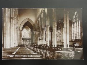Yorkshire HULL Interior HOLY TRINITY CHURCH & FONT Old RP Postcard by The Milton