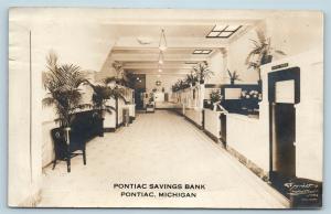 Postcard MI Pontiac Michigan Pontiac Savings Bank Interior 1917 RPPC Photo S8