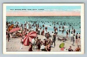 Miami, FL-Florida, Daily Bathing Scene, Beach, Vintage Postcard