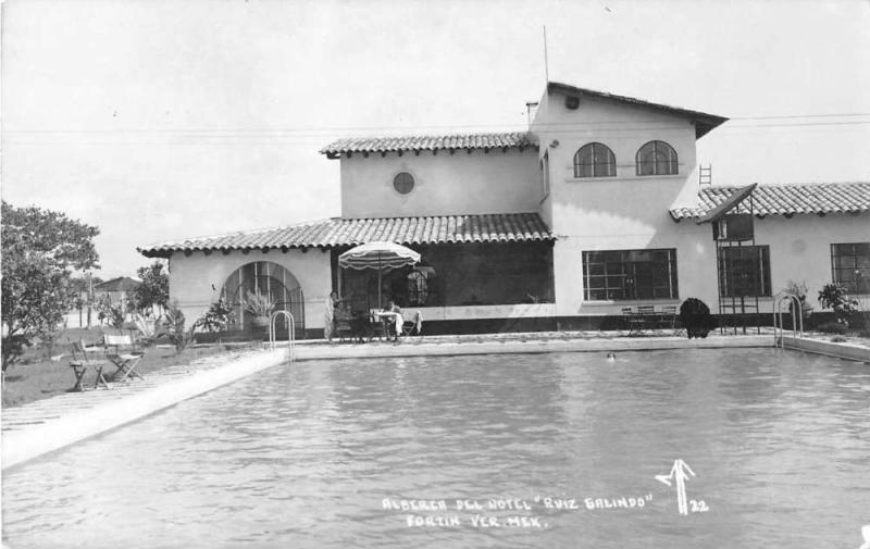 Fortin Mexico Hotel Ruiz Galindo Swimming Pool Real Photo Postcard J52744