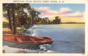 Milton Three Ponds New Hampshire Row Boat Waterfront Antique Postcard K93068