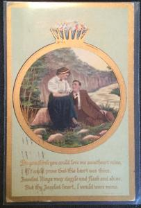 "Vintage Postcard Used Wedding Ring Couple ""Do you think...""  LB"
