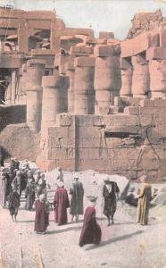Karnak Egypt, Egypte, Africa Laborers Excavating at the Temple of Ammon Karna...