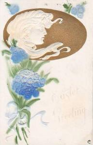 Easter Greetings Glamour Lady With Flowers Embossed