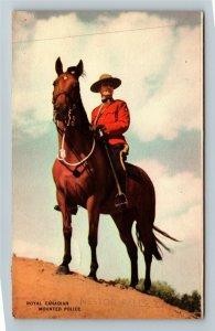 Royal Canadian Mounted Police, On Horseback, Linen Postcard