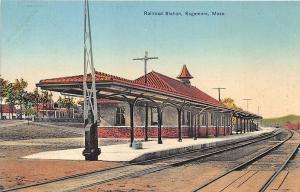 Sagamore MA Railroad Station Train Depot Adams Pharmacy Postcard
